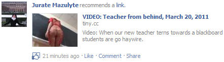 Facebook video virus Teacher from behind