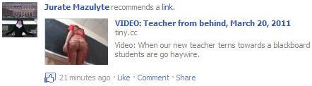 Facebook video virus Teacher from behind