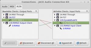 """""""JACK"""" sujungimų valdymas: įvesties įrenginiai"""
