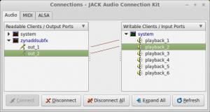 """""""JACK"""" sujungimų valdymas: garso išvestis"""