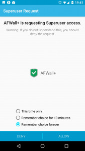 Superuser dialog: AFWall+ requesting root rights