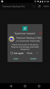 SuperSU dialog: Titanium Backup requests root